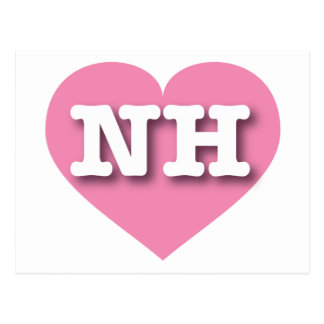 New Hampshire NH pink heart Postcards