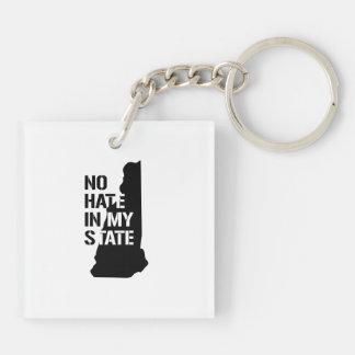 New Hampshire: Ningún odio en mi estado Llavero Cuadrado Acrílico A Doble Cara