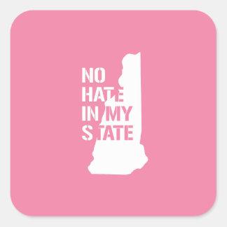 New Hampshire: Ningún odio en mi estado Pegatina Cuadrada