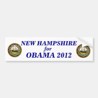 New Hampshire para el pegatina 2012 de Obama Pegatina Para Auto