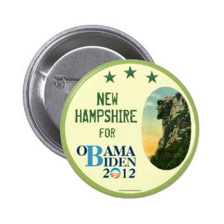 New Hampshire para el viejo hombre de OBAMA BIDEN  Pin Redondo De 2 Pulgadas
