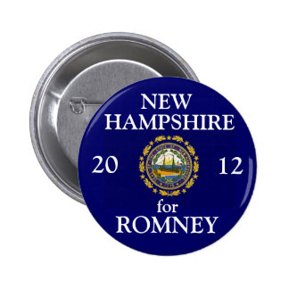 New Hampshire para Romney 2012 Pin Redondo De 2 Pulgadas
