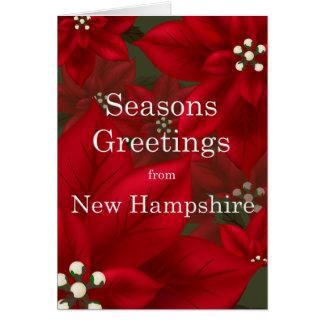 New Hampshire Poinsettia Seasons Greetings Greeting Card