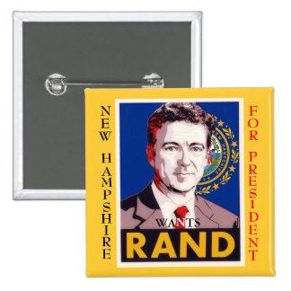 New Hampshire quiere el rand (Paul) Pin Cuadrado