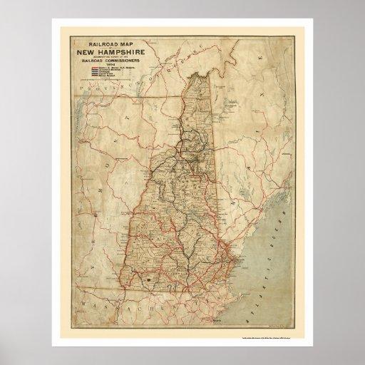 New Hampshire Railroad Map 1894 Poster