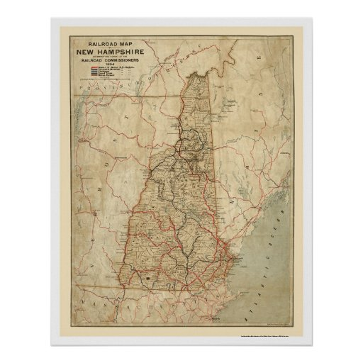New Hampshire Railroad Map 1894 Posters