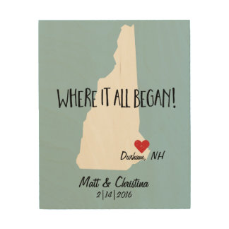 New Hampshire Rustic Wedding Couple Where it Began Wood Wall Art