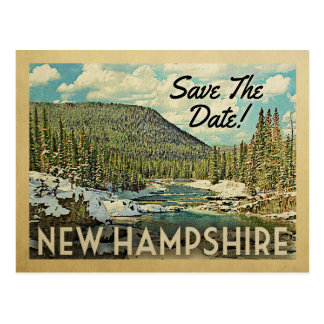 New Hampshire Save The Date Mountains River Snow Postcard