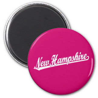 New Hampshire script logo in white distressed Magnet