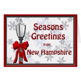 New Hampshire Seasons Greetings Lamp Snowflake Card