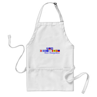 New Hampshire spelled in nautical flag alphabet Adult Apron