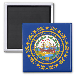 New Hampshire State Flag 2 Inch Square Magnet