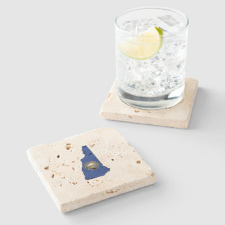 New Hampshire State Flag and Map Stone Coaster