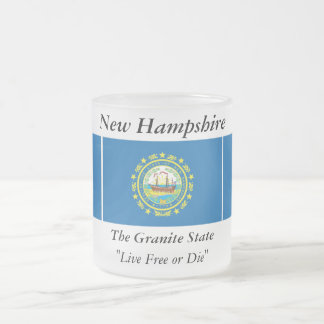 New Hampshire State Flag 10 Oz Frosted Glass Coffee Mug