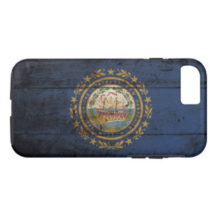New Hampshire State Flag on Old Wood Grain iPhone 8/7 Case