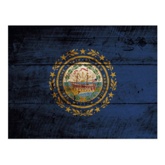 New Hampshire State Flag on Old Wood Grain Postcard