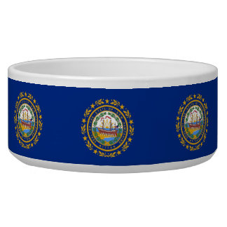 New Hampshire State Flag Pet Bowl