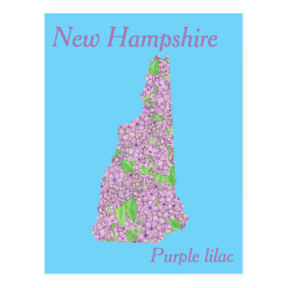 New Hampshire State Flower Collage Map Postcard