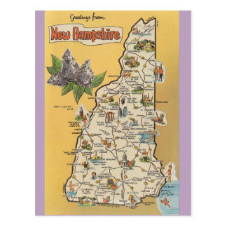 New Hampshire State  Map Postcard