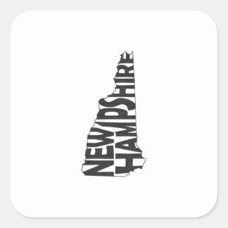 New Hampshire State Name Word Art Black Square Sticker