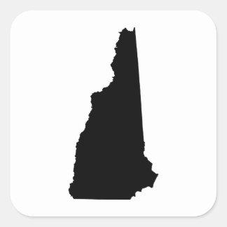 New Hampshire State Outline Square Sticker