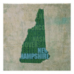 New Hampshire State Outline Word Map on Canvas Print