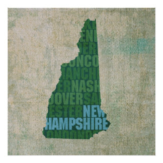 New Hampshire State Outline Word Map on Canvas Poster