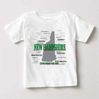 New Hampshire State Pride Map Silhouette Baby T-Shirt