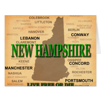 New Hampshire State Pride Map Silhouette Card