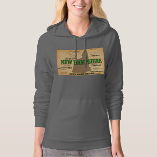 New Hampshire State Pride Map Silhouette Hooded Pullover