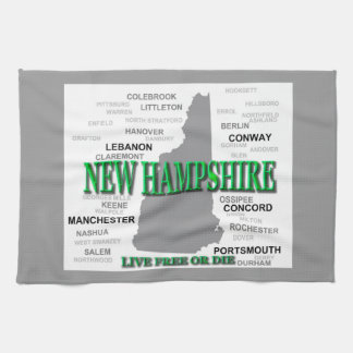 New Hampshire State Pride Map Silhouette Kitchen Towels