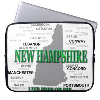 New Hampshire State Pride Map Silhouette Laptop Sleeves