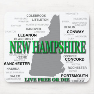 New Hampshire State Pride Map Silhouette Mouse Pad
