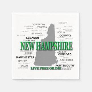 New Hampshire State Pride Map Silhouette Napkin