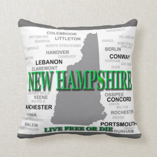 New Hampshire State Pride Map Silhouette Pillow