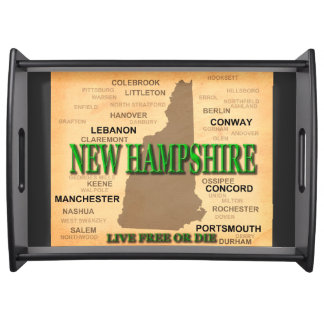 New Hampshire State Pride Map Silhouette Serving Tray