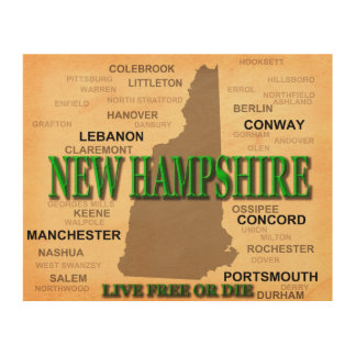 New Hampshire State Pride Map Silhouette Wood Wall Art