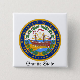 New Hampshire State Seal and Motto Pinback Button