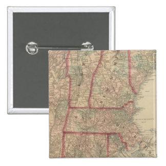 New Hampshire, Vermont, Massachusetts 2 Inch Square Button