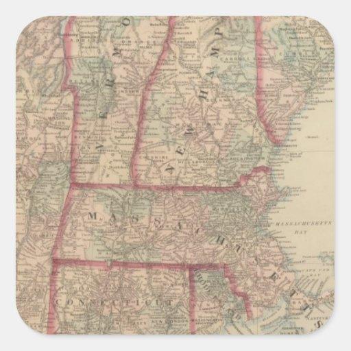 New Hampshire, Vermont, Massachusetts Calcomanía Cuadradas Personalizada