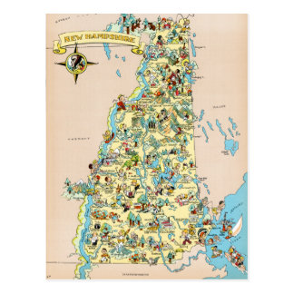 New Hampshire Vintage Funny Map Postcard