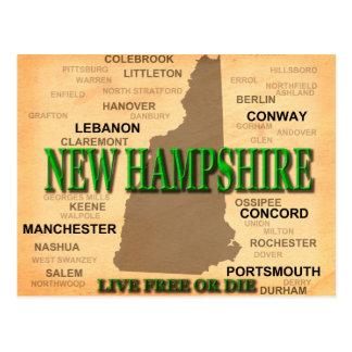 New Hampshire Vintage Map Postcard