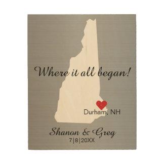 New Hampshire Wedding Couple Custom State Love Wood Print