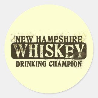 New Hampshire Whiskey Drinking Champion Round Stickers