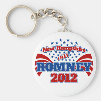 New Hampshire with Romney 2012 Basic Round Button Keychain