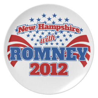 New Hampshire with Romney 2012 Melamine Plate