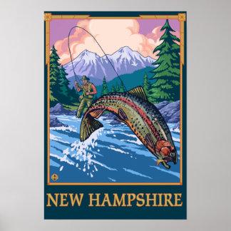 New HampshireAngler Fisherman Scene Poster
