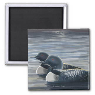 New HampshireCommon Loon 2 Inch Square Magnet
