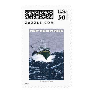New HampshireCrab Fishing Boat Scene Postage