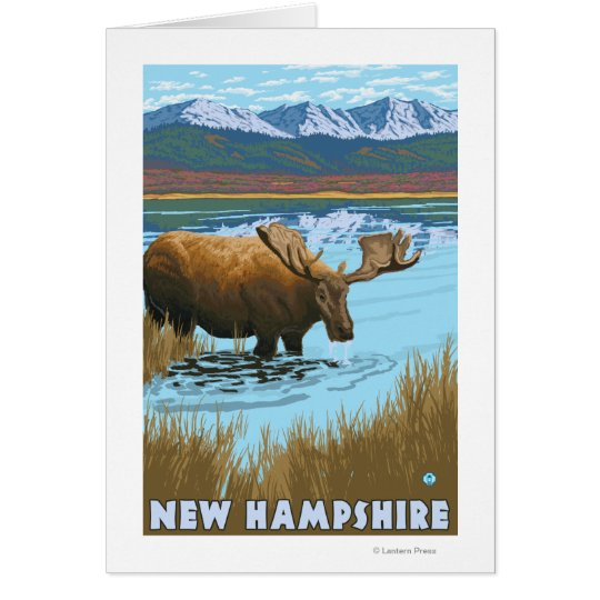 New HampshireMoose Drinking in Lake Card